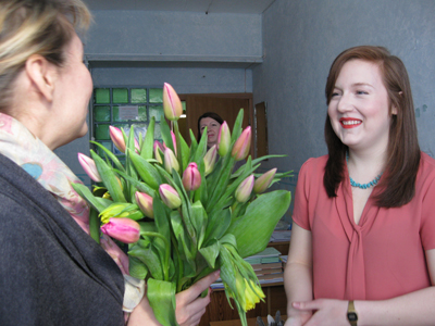 It is so nice to get a bouquet of tulips on your birthday!