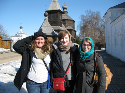 "Rebecca Ruhl and ""Spring-break"" students on a pilgrimage to the holy places of Murom"